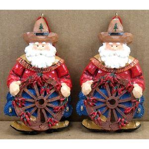 Cowboy Wagon Wheel - Christmas Ornaments - 2 Pcs